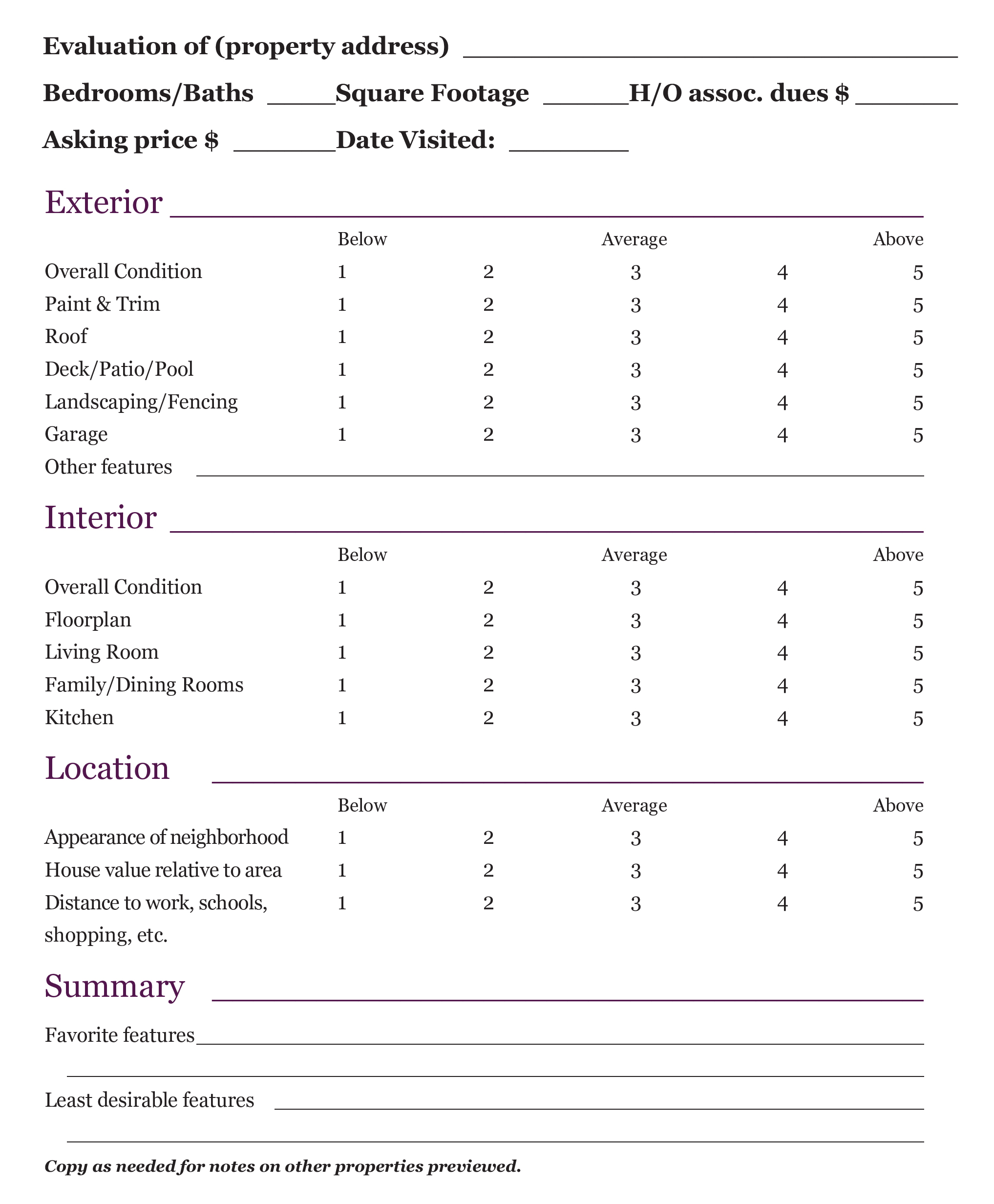 Home Finding Worksheet